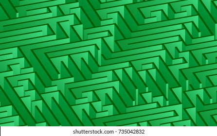 3d maze viewed from above in green from the Flat UI palette