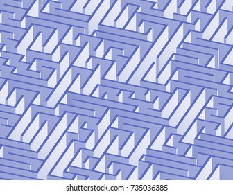 3d maze viewed from above in Indigo from the Material Design palette