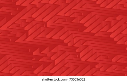 3d maze viewed from above in Red from the Material Design palette