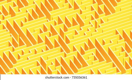 3d maze viewed from above in Yellow from the Material Design palette
