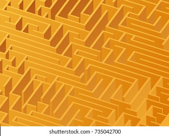 3d maze viewed from above in yellow from the Flat UI palette