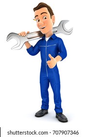 3d mechanic carrying wrench on shoulder, illustration with isolated white background