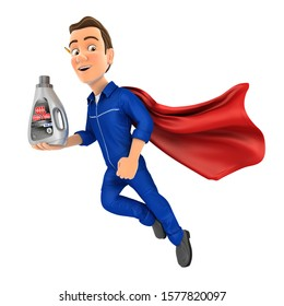 3d mechanic flying and holding oil motor canister, illustration with isolated white background