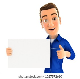 3d mechanic holding placard with thumb up, illustration with isolated white background