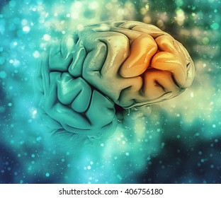 3D medical background with brain with frontal lobe highlighted