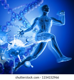 3d medical figure running away from viruses on dna background