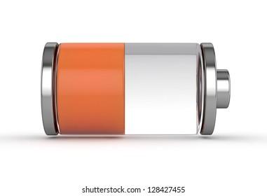 3D Medium Battery symbol  white isolated