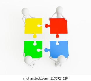 3D men pushing pieces of the puzzle on a white background. Concept business organization. 3D Rendering.