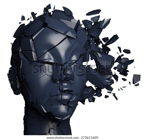 3D. Mental Illness, Brain, Broken.
