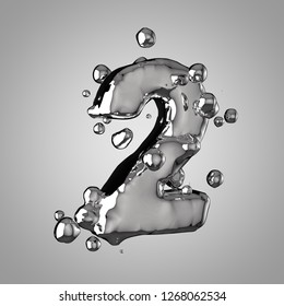 3D mercury number 2. 3D rendering liquid metal font with drops isolated on light background.