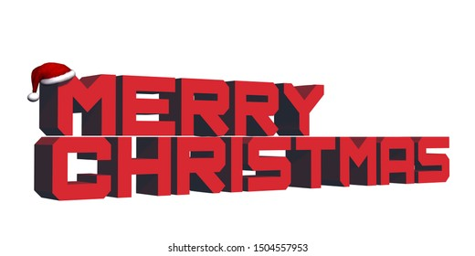 3D Merry Christmas lettering - red - isolated on white background and 3D people - 3D rendering