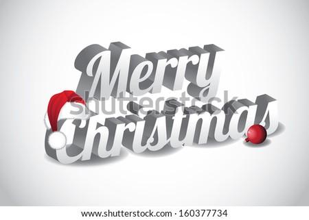 3d merry christmas words wearing a santa hat jpg