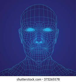 3D Mesh human Head medical scan on background, high detail