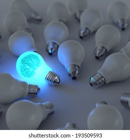 3d metal brain and growing light bulb standing out from the unlit incandescent bulbs as leadership concept