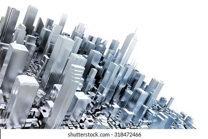 3D metal city