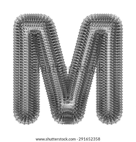 3 d metal creative decorative letter m stock illustration 291652358