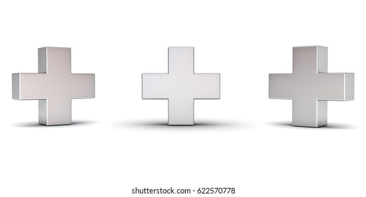 3d metal plus sign with three different view angles isolated on white background with shadow. 3D rendering.