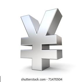 3d metal yen symbol