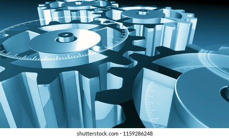 3D metallic gear cogwheels and HUD elements. Technological composition. Futuristic industry, science and technology background. Depth of field settings. 3D rendering.