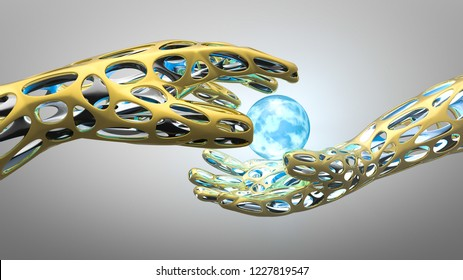 3D metallic golden hands getting together and a blue energy orb between them. Abstract conceptual technology, science and engineering background.