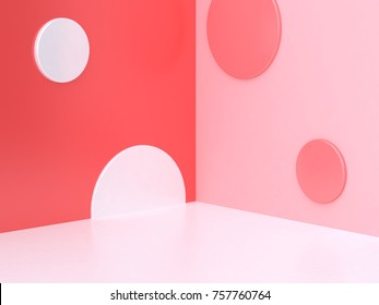 3d minimal abstract pink-red background wall corner scene circle geometric 3d rendering