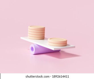 3D Minimal Coins stacks on weighing scales, financial management, financial analysis, money-saving and money exchange concept. 3d render illustration