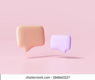 3D Minimal purple and orange chat bubbles on pink background. concept of social media messages. 3d render illustration