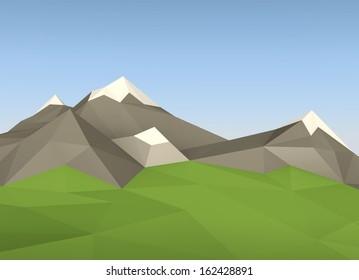 3d minimalistic lowpoly landscape