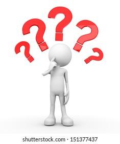 3d minimalistic person questionmarks