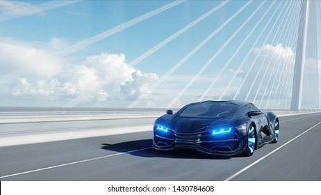 3d model of black futuristic car on the bridge. Very fast driving. Concept of future. 3d rendering.