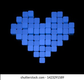 3D model of the blue heart, consisting of blocks - cubes isolated on a black background. Pixel, or voxel art.