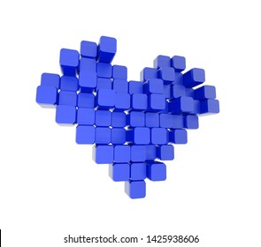 3D model of the blue heart, consisting of blocks - cubes isolated on a white background. Pixel, or voxel art.