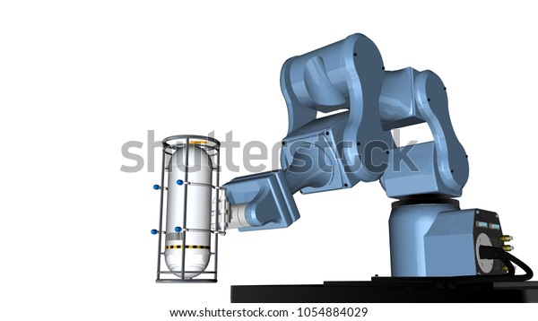 3d Model Blue Robot Mechanical Arm Stock Illustration 1054884029