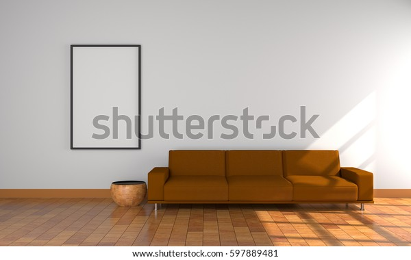3d Model Brown Sofa White Framewhite Stock Illustration 597889481