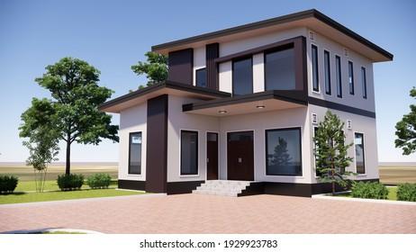 3D model and building design rendering