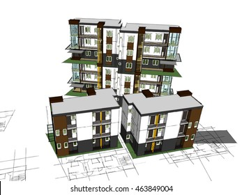3d model of the building ,Sketchup