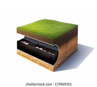 3d model of cross section of ground with grass and steel pipe with oil isolated on white