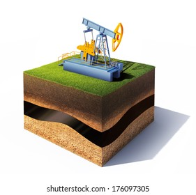 3d model of cross section of ground with grass and oil pump jack isolated on white