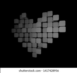 3D model of the dark heart, consisting of blocks - cubes isolated on a black background. Pixel, or voxel art.