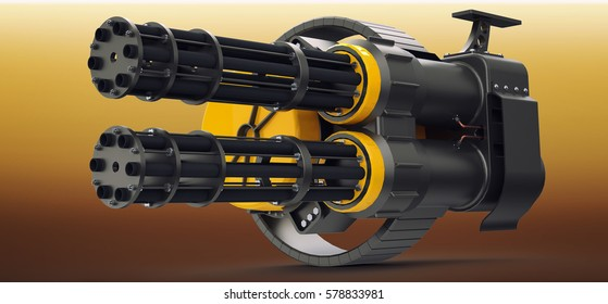 3D model of the double rotary cannon