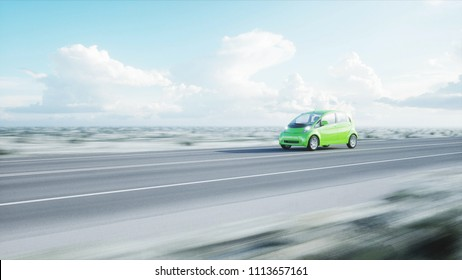 3d model of electric green car with 3d model of man. Render. Ecology concept. 3d rendering.