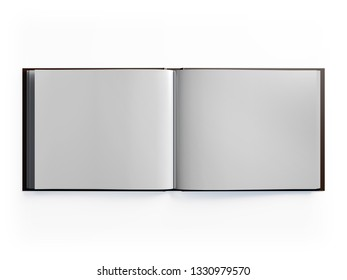 3D model of the expanded book. White sheet. Horizontal A4, letter.