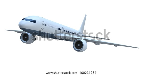 3d Model Flying Passenger Aircraft Isolated Stock