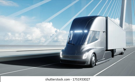 3d model of futuristic electric truck on the bridge. Electric automobile. 3d rendering.