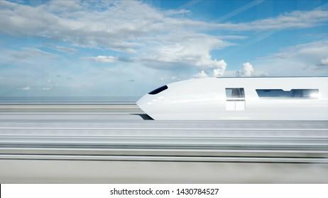 3d model of futuristic passenger train on the bridge. Very fast driving. Future concept. 3d rendering.