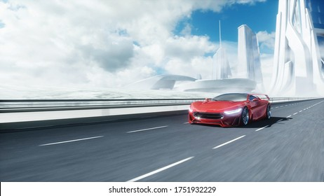 3d model of futuristic red electric car on highway. Very fast driving. Future concept. 3d rendering.