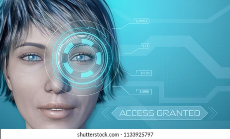 3d model of a girl face, with a futuristic software interface for eye recognition, copy space (3d render)