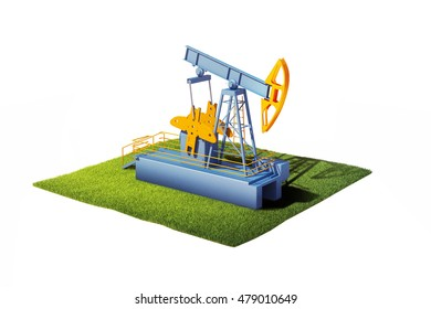 3d model of ground with grass and oil pump jack isolated on white