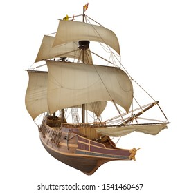 3D model of historic ship Spanish Galleon isolated on the white background. Render illustration.
