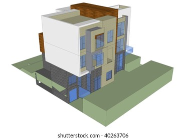 3d model of the house isolated on white,Sketchup